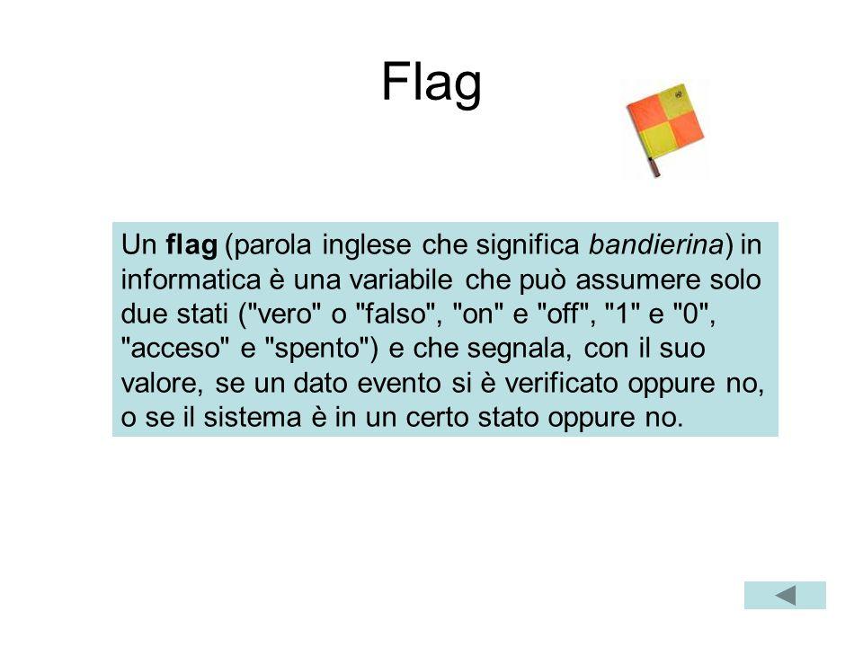 Flag Un flag (parola inglese che significa bandierina) in informatica è una variabile che può assumere solo due stati ( vero o falso , on e off , 1 e 0 , acceso e spento ) e che segnala, con il suo valore, se un dato evento si è verificato oppure no, o se il sistema è in un certo stato oppure no.