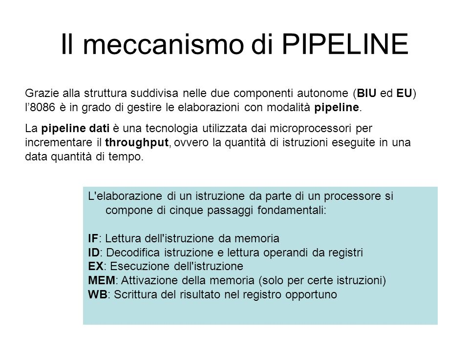 Il meccanismo di PIPELINE Grazie alla struttura suddivisa nelle due componenti autonome (BIU ed EU) l8086 è in grado di gestire le elaborazioni con modalità pipeline.