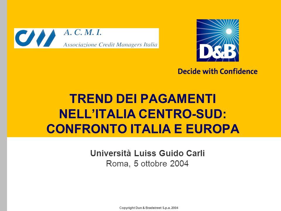 TREND DEI PAGAMENTI NELLITALIA CENTRO-SUD: CONFRONTO ITALIA E EUROPA Università Luiss Guido Carli Roma, 5 ottobre 2004 Copyright Dun & Bradstreet S.p.a.