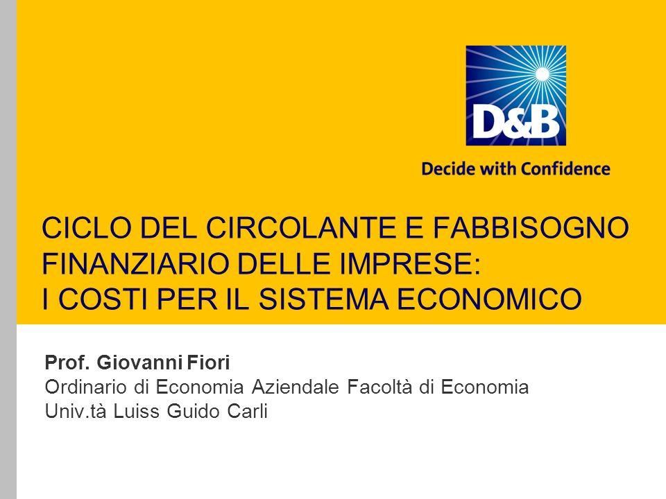 CICLO DEL CIRCOLANTE E FABBISOGNO FINANZIARIO DELLE IMPRESE: I COSTI PER IL SISTEMA ECONOMICO Prof.