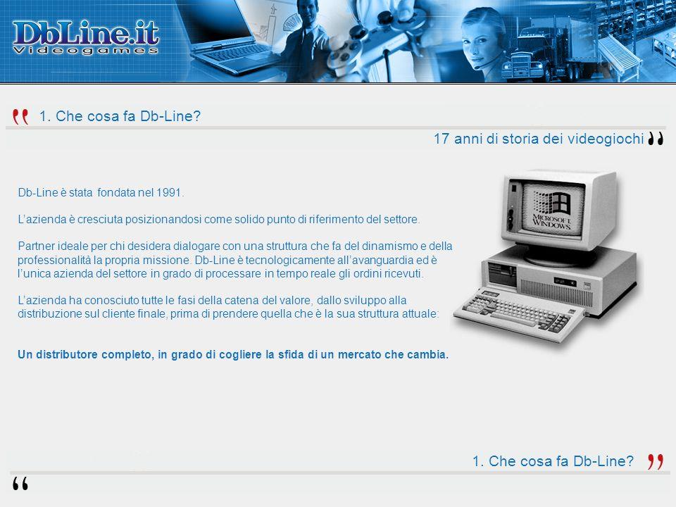 1. Che cosa fa Db-Line. 17 anni di storia dei videogiochi Db-Line è stata fondata nel 1991.