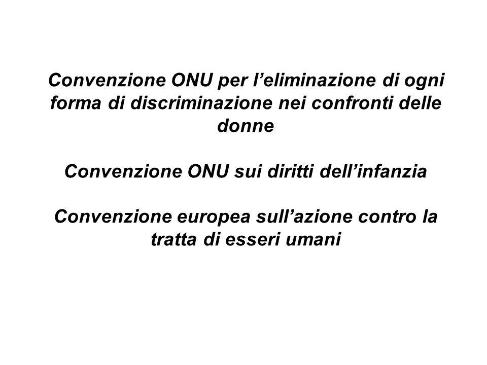 Convenzione ONU per leliminazione di ogni forma di discriminazione nei confronti delle donne Convenzione ONU sui diritti dellinfanzia Convenzione euro