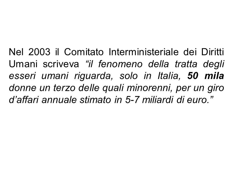 Nel 2003 il Comitato Interministeriale dei Diritti Umani scriveva il fenomeno della tratta degli esseri umani riguarda, solo in Italia, 50 mila donne
