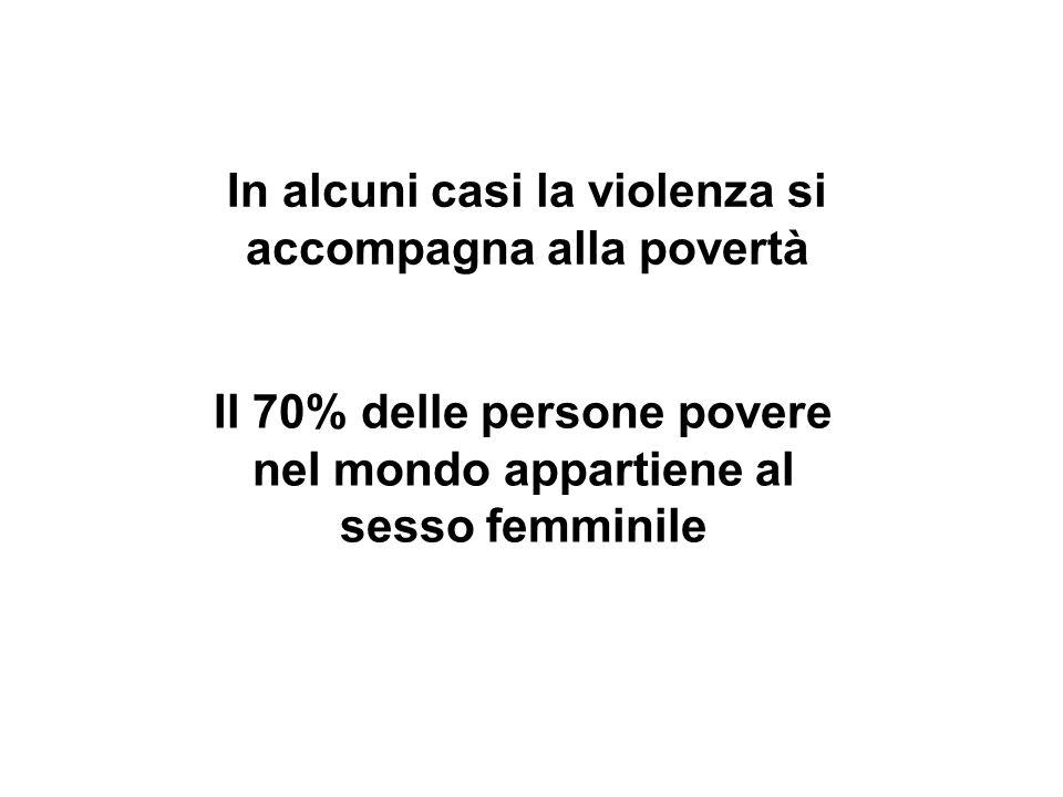 In alcuni casi la violenza si accompagna alla povertà Il 70% delle persone povere nel mondo appartiene al sesso femminile