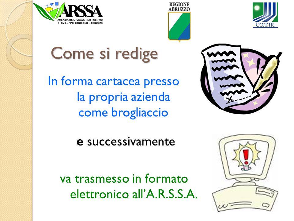 Come si redige In forma cartacea presso la propria azienda come brogliaccio va trasmesso in formato elettronico allA.R.S.S.A. e successivamente