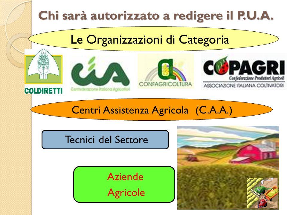 Chi sarà autorizzato a redigere il P.U.A. Le Organizzazioni di Categoria Centri Assistenza Agricola (C.A.A.) Tecnici del Settore Aziende Agricole