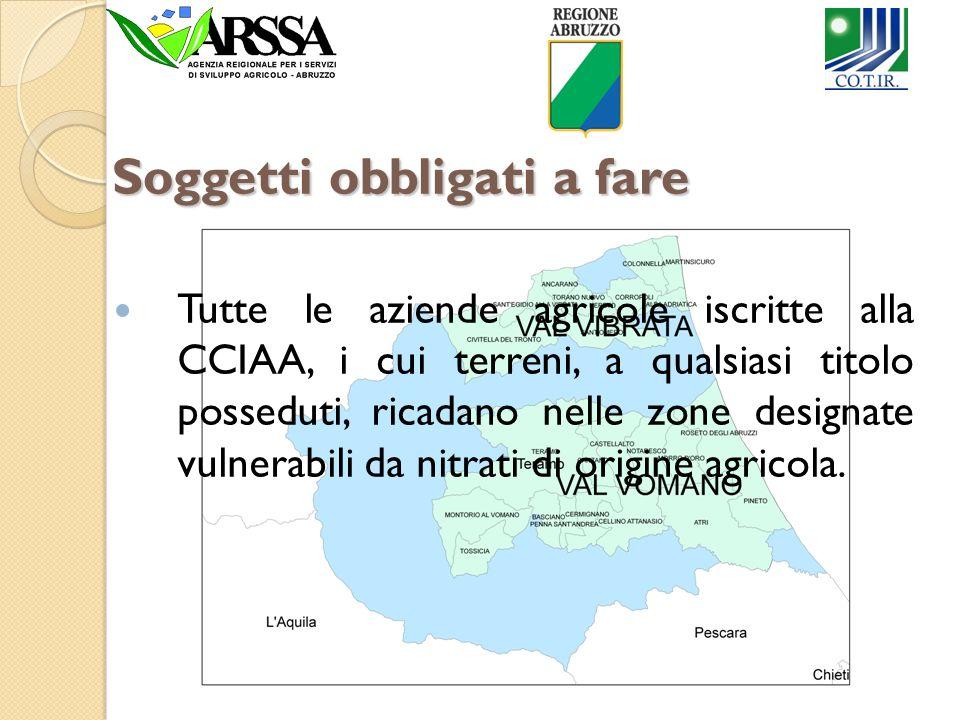 Soggetti obbligati a fare Tutte le aziende agricole iscritte alla CCIAA, i cui terreni, a qualsiasi titolo posseduti, ricadano nelle zone designate vu