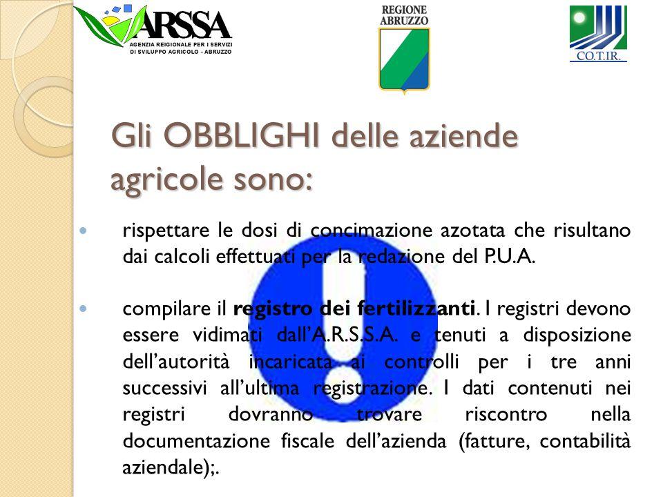 Gli OBBLIGHI delle aziende agricole sono: compilare il registro dei fertilizzanti. I registri devono essere vidimati dallA.R.S.S.A. e tenuti a disposi
