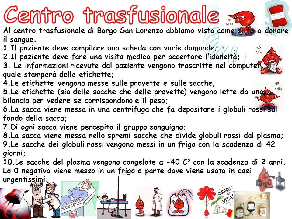 Al centro trasfusionale di Borgo San Lorenzo abbiamo visto come si fa a donare il sangue. 1. Il paziente deve compilare una scheda con varie domande;