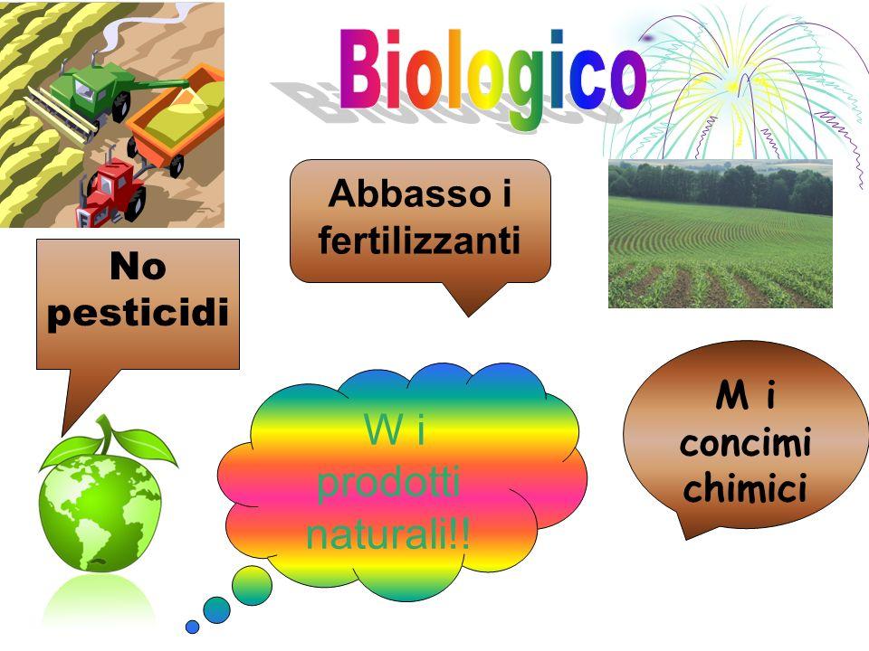 No pesticidi Abbasso i fertilizzanti W i prodotti naturali!! M i concimi chimici