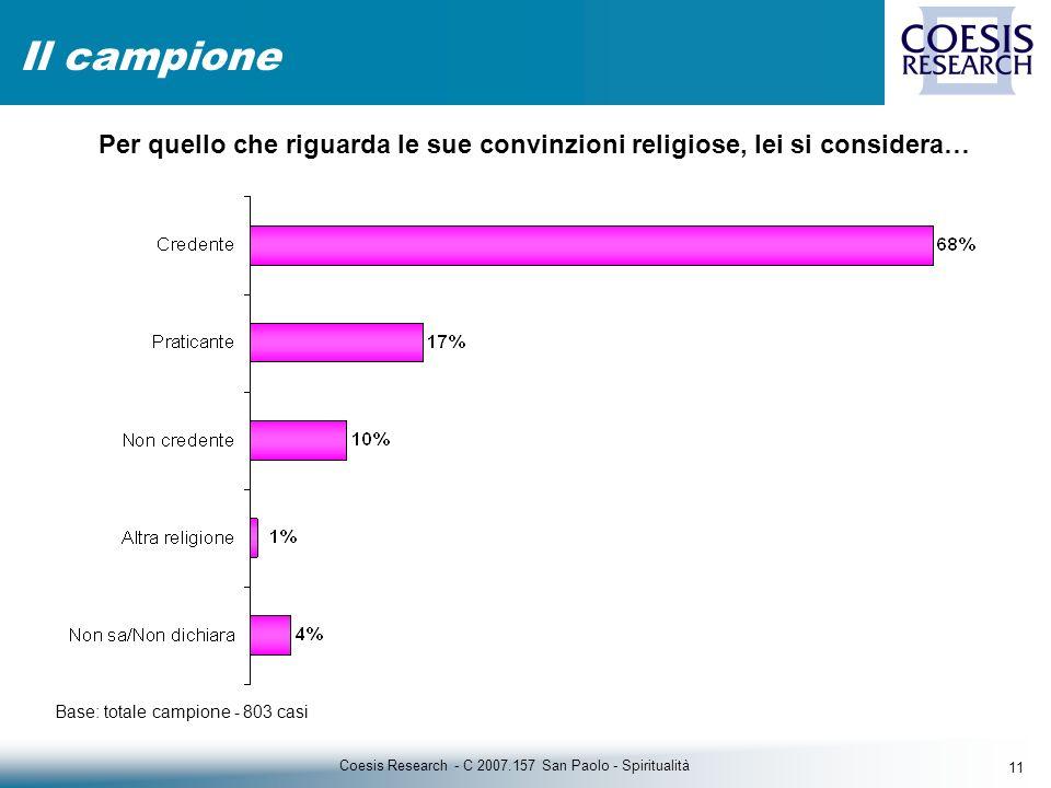11 Coesis Research - C 2007.157 San Paolo - Spiritualità Il campione Base: totale campione - 803 casi Per quello che riguarda le sue convinzioni religiose, lei si considera…