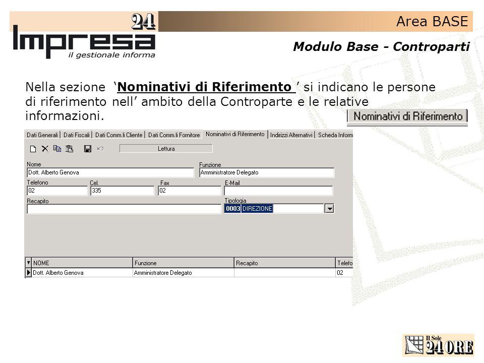 Area BASE Modulo Base - Controparti Nella sezione Nominativi di Riferimento si indicano le persone di riferimento nell ambito della Controparte e le relative informazioni.