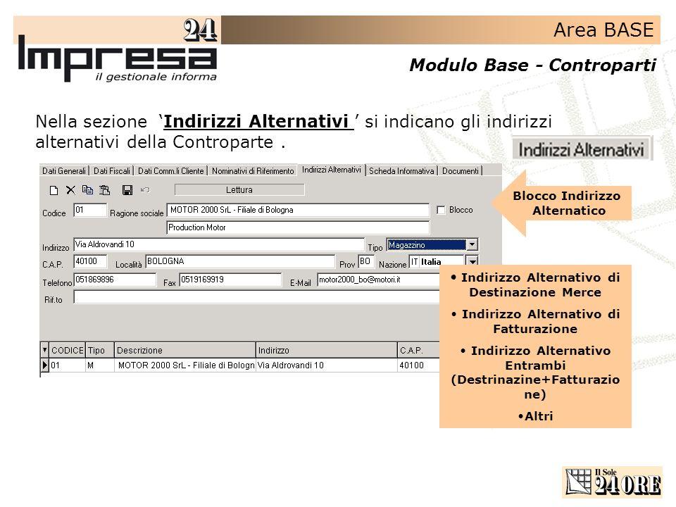Area BASE Modulo Base - Controparti Nella sezione Indirizzi Alternativi si indicano gli indirizzi alternativi della Controparte.