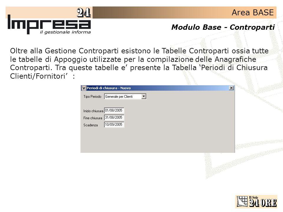Area BASE Modulo Base - Controparti Oltre alla Gestione Controparti esistono le Tabelle Controparti ossia tutte le tabelle di Appoggio utilizzate per la compilazione delle Anagrafiche Controparti.