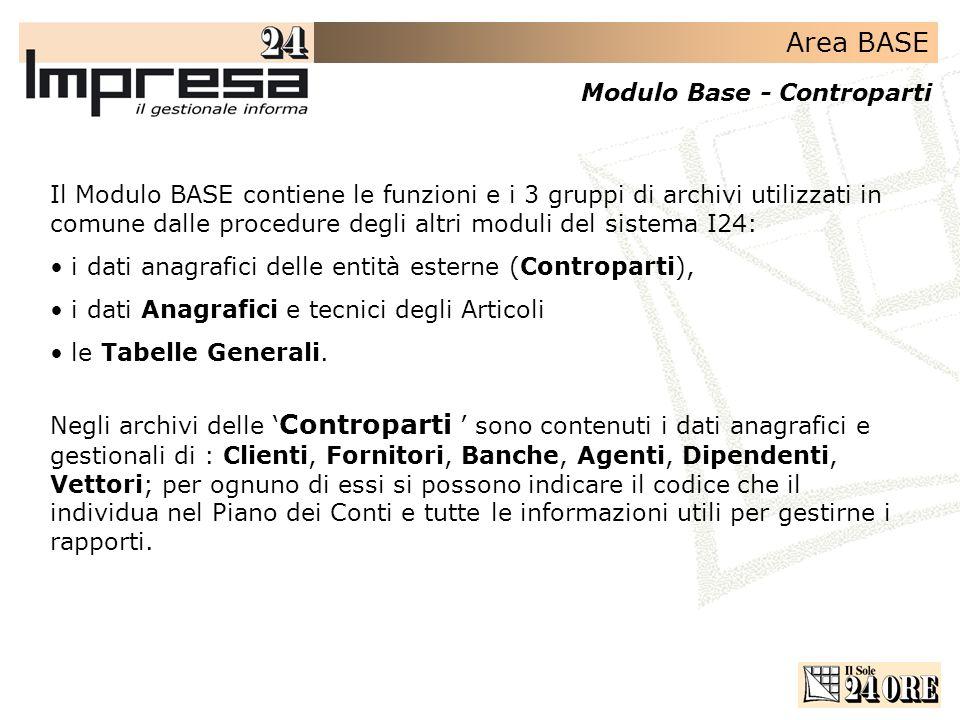 Area BASE Modulo Base - Controparti Il Modulo BASE contiene le funzioni e i 3 gruppi di archivi utilizzati in comune dalle procedure degli altri moduli del sistema I24: i dati anagrafici delle entità esterne (Controparti), i dati Anagrafici e tecnici degli Articoli le Tabelle Generali.