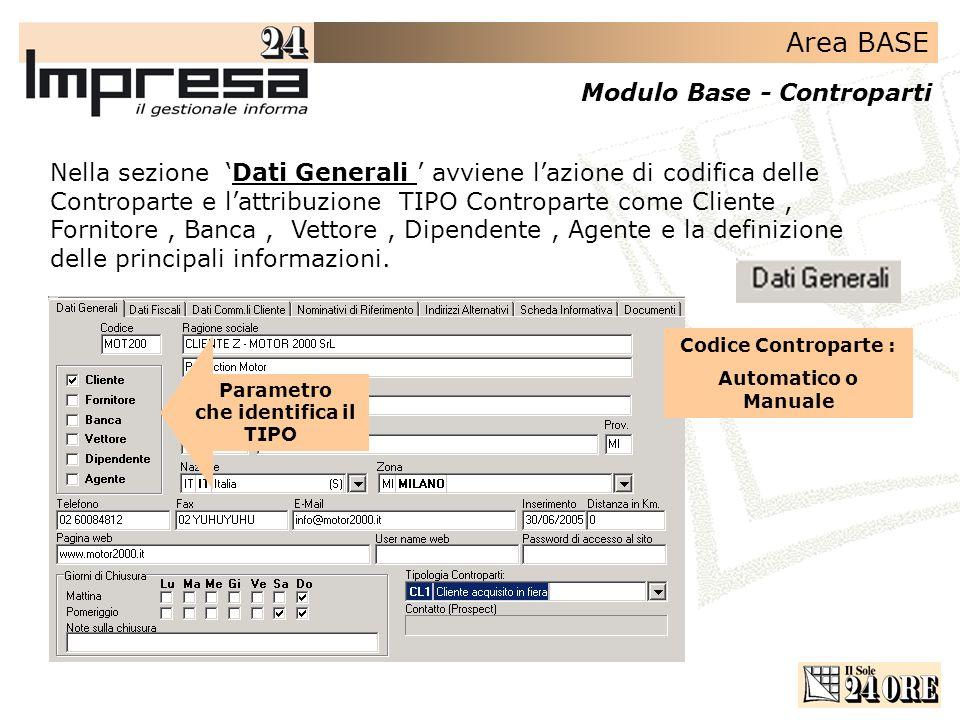 Area BASE Modulo Base - Controparti Nella sezione Dati Generali avviene lazione di codifica delle Controparte e lattribuzione TIPO Controparte come Cliente, Fornitore, Banca, Vettore, Dipendente, Agente e la definizione delle principali informazioni.