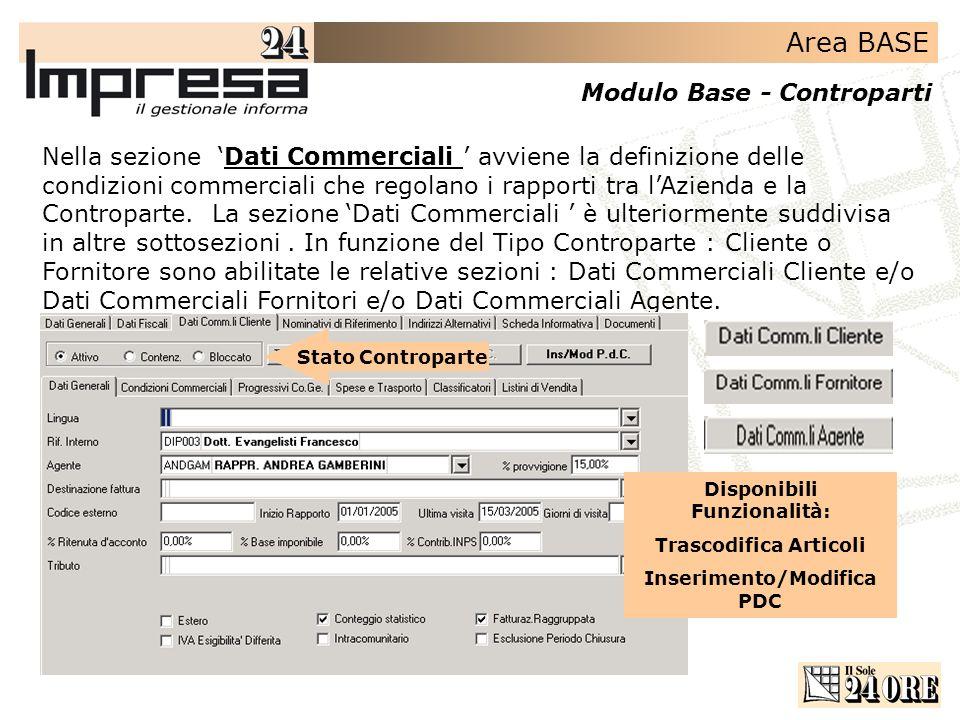 Area BASE Modulo Base - Controparti Nella sezione Dati Commerciali avviene la definizione delle condizioni commerciali che regolano i rapporti tra lAzienda e la Controparte.
