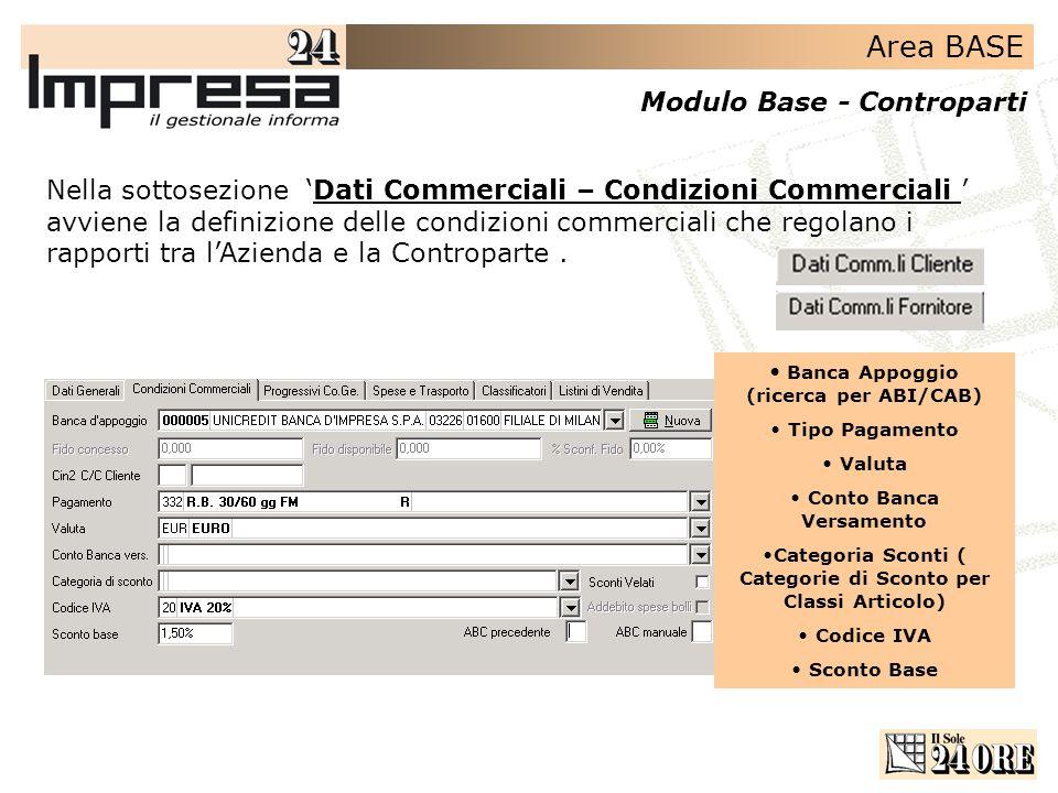 Area BASE Modulo Base - Controparti Nella sottosezione Dati Commerciali – Condizioni Commerciali avviene la definizione delle condizioni commerciali che regolano i rapporti tra lAzienda e la Controparte.