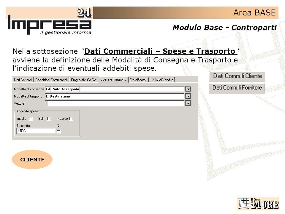 Area BASE Modulo Base - Controparti Nella sottosezione Dati Commerciali – Spese e Trasporto avviene la definizione delle Modalità di Consegna e Trasporto e lindicazione di eventuali addebiti spese.