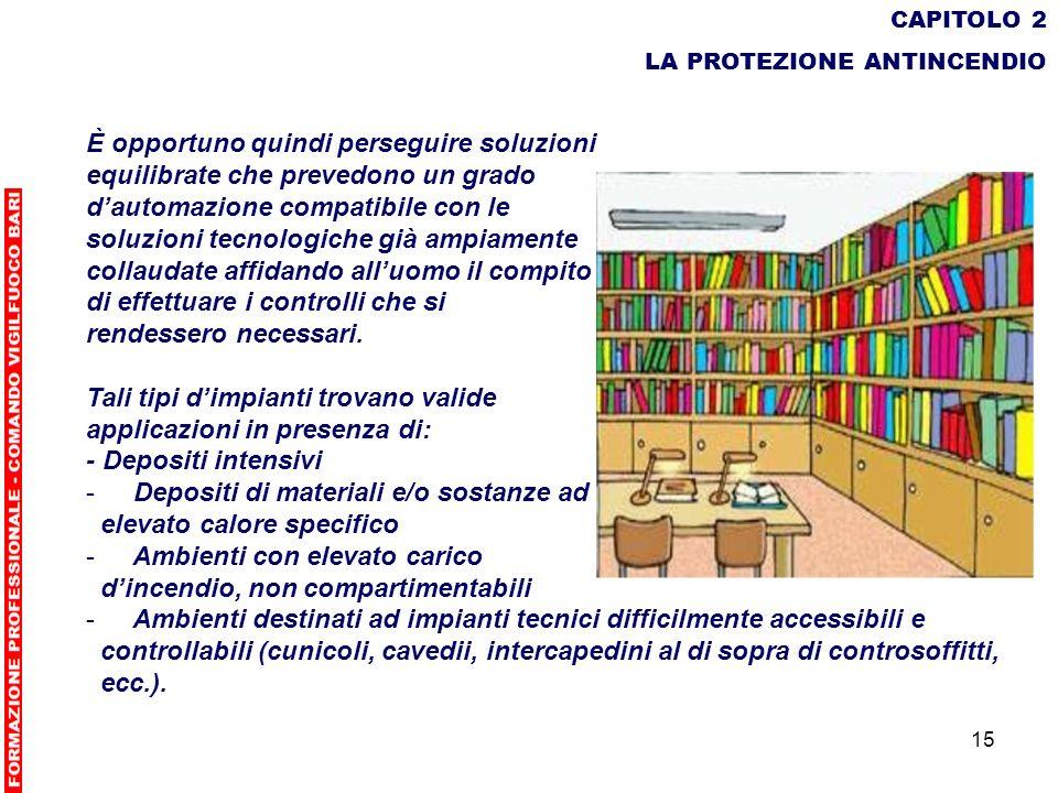 15 CAPITOLO 2 LA PROTEZIONE ANTINCENDIO È opportuno quindi perseguire soluzioni equilibrate che prevedono un grado dautomazione compatibile con le sol