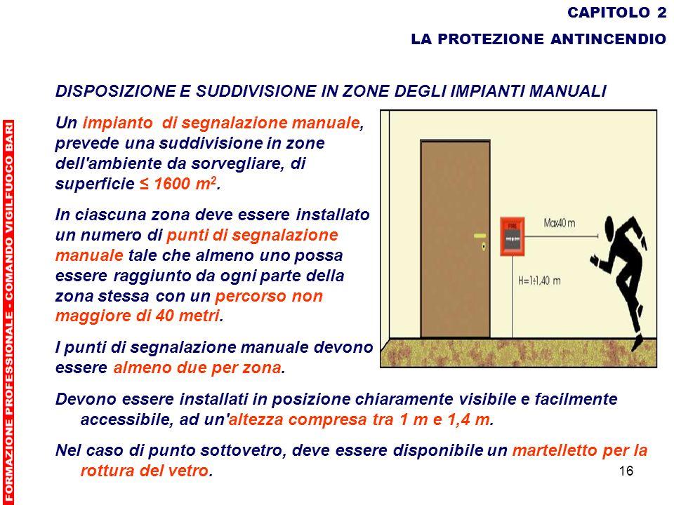16 CAPITOLO 2 LA PROTEZIONE ANTINCENDIO DISPOSIZIONE E SUDDIVISIONE IN ZONE DEGLI IMPIANTI MANUALI Un impianto di segnalazione manuale, prevede una su