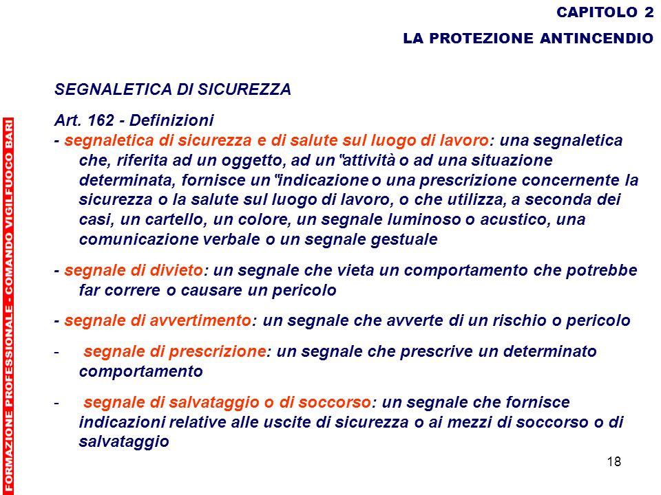 18 CAPITOLO 2 LA PROTEZIONE ANTINCENDIO SEGNALETICA DI SICUREZZA Art. 162 - Definizioni - segnaletica di sicurezza e di salute sul luogo di lavoro: un