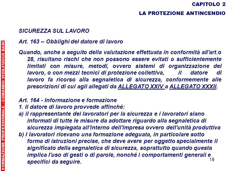 19 CAPITOLO 2 LA PROTEZIONE ANTINCENDIO SICUREZZA SUL LAVORO Art. 163 – Obblighi del datore di lavoro Quando, anche a seguito della valutazione effett