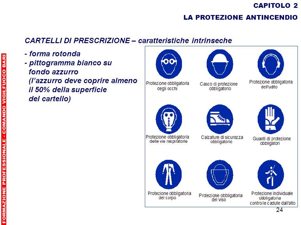 24 CAPITOLO 2 LA PROTEZIONE ANTINCENDIO CARTELLI DI PRESCRIZIONE – caratteristiche intrinseche - forma rotonda - pittogramma bianco su fondo azzurro (