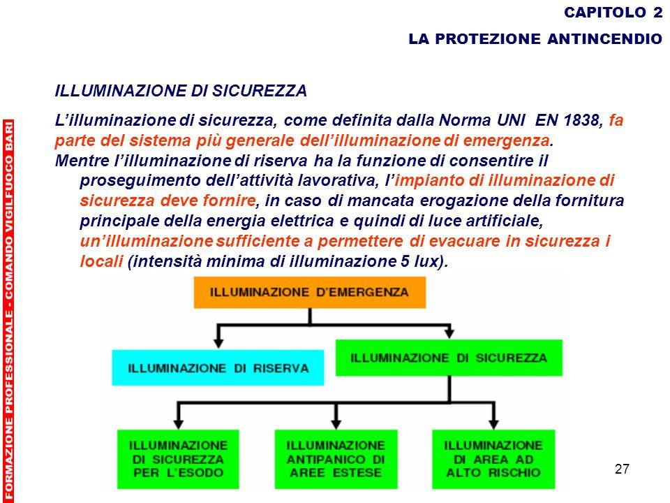 27 CAPITOLO 2 LA PROTEZIONE ANTINCENDIO ILLUMINAZIONE DI SICUREZZA Lilluminazione di sicurezza, come definita dalla Norma UNI EN 1838, fa parte del si