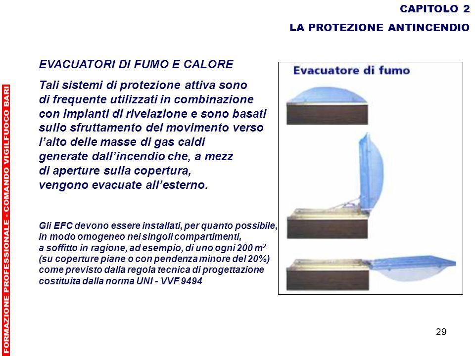 29 CAPITOLO 2 LA PROTEZIONE ANTINCENDIO EVACUATORI DI FUMO E CALORE Tali sistemi di protezione attiva sono di frequente utilizzati in combinazione con