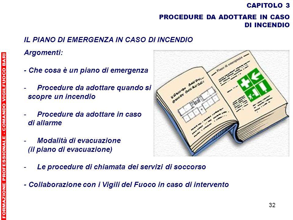 32 CAPITOLO 3 PROCEDURE DA ADOTTARE IN CASO DI INCENDIO IL PIANO DI EMERGENZA IN CASO DI INCENDIO Argomenti: - Che cosa è un piano di emergenza - Proc