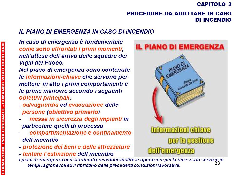 33 CAPITOLO 3 PROCEDURE DA ADOTTARE IN CASO DI INCENDIO IL PIANO DI EMERGENZA IN CASO DI INCENDIO In caso di emergenza è fondamentale come sono affron