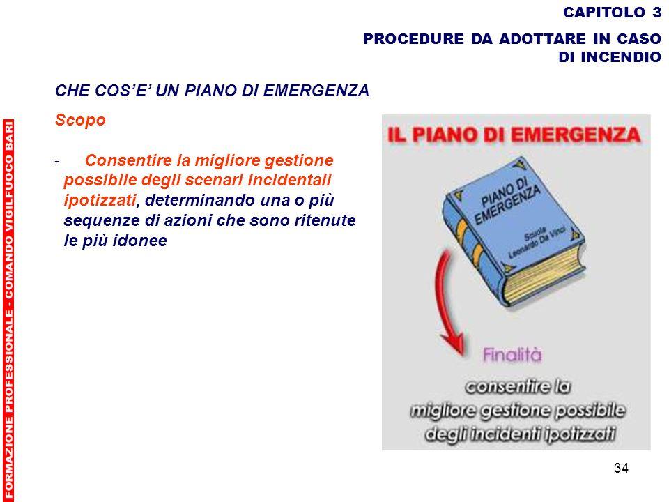 34 CAPITOLO 3 PROCEDURE DA ADOTTARE IN CASO DI INCENDIO CHE COSE UN PIANO DI EMERGENZA Scopo - Consentire la migliore gestione possibile degli scenari