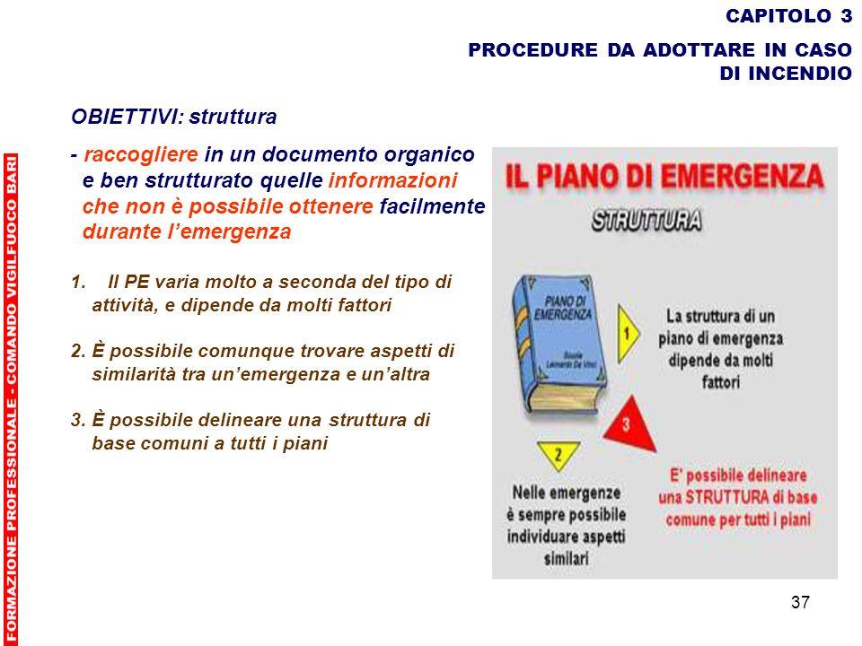 37 CAPITOLO 3 PROCEDURE DA ADOTTARE IN CASO DI INCENDIO OBIETTIVI: struttura - raccogliere in un documento organico e ben strutturato quelle informazi