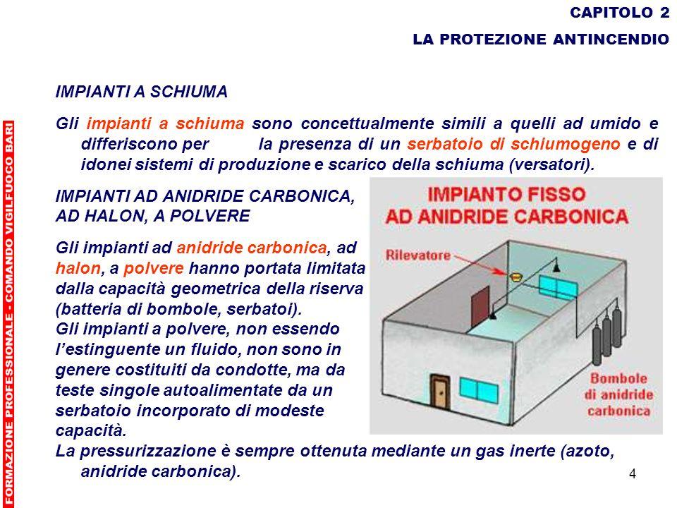 4 CAPITOLO 2 LA PROTEZIONE ANTINCENDIO IMPIANTI A SCHIUMA Gli impianti a schiuma sono concettualmente simili a quelli ad umido e differiscono perla pr