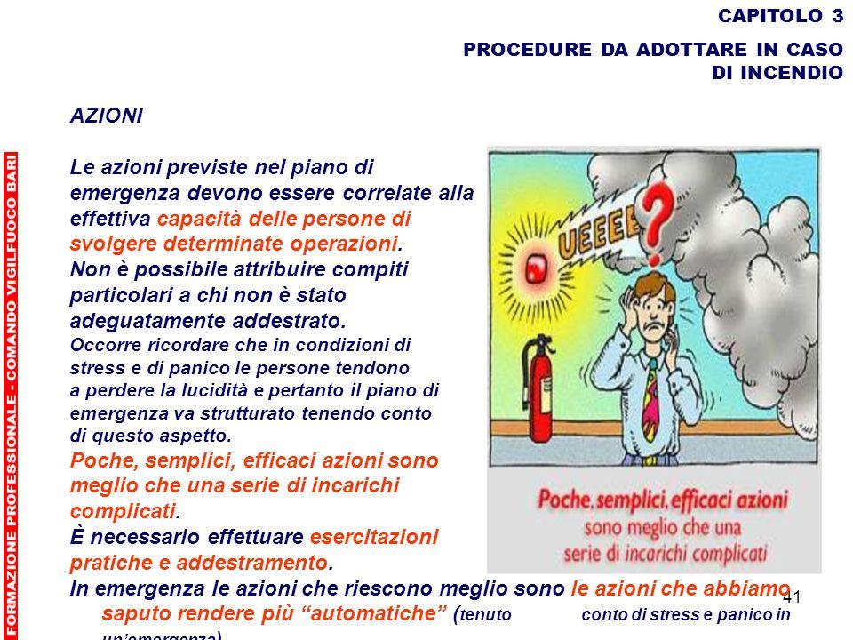 41 CAPITOLO 3 PROCEDURE DA ADOTTARE IN CASO DI INCENDIO AZIONI Le azioni previste nel piano di emergenza devono essere correlate alla effettiva capaci