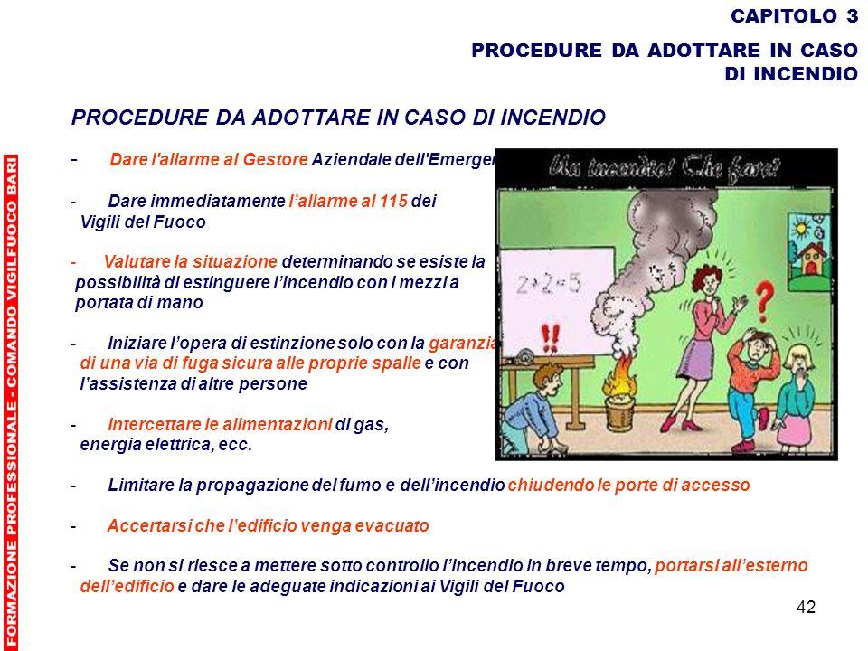 42 CAPITOLO 3 PROCEDURE DA ADOTTARE IN CASO DI INCENDIO - Dare l'allarme al Gestore Aziendale dell'Emergenze - Dare immediatamente lallarme al 115 dei
