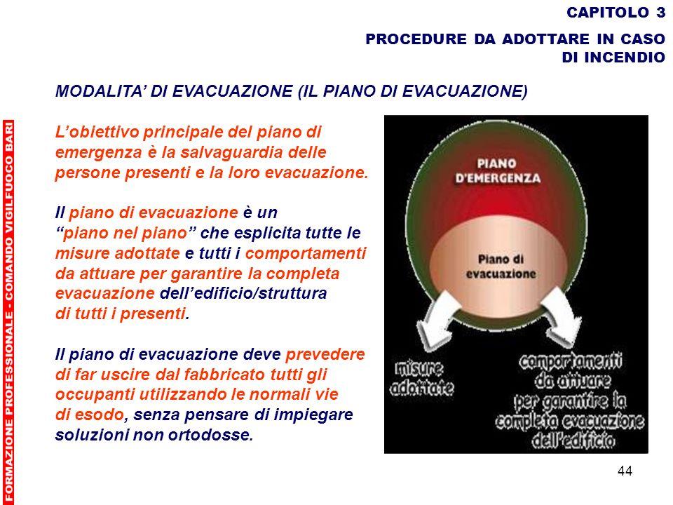 44 CAPITOLO 3 PROCEDURE DA ADOTTARE IN CASO DI INCENDIO MODALITA DI EVACUAZIONE (IL PIANO DI EVACUAZIONE) Lobiettivo principale del piano di emergenza