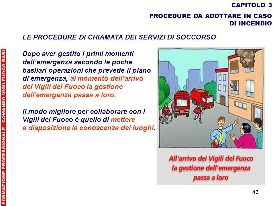 46 CAPITOLO 3 PROCEDURE DA ADOTTARE IN CASO DI INCENDIO LE PROCEDURE DI CHIAMATA DEI SERVIZI DI SOCCORSO Dopo aver gestito i primi momenti dellemergen