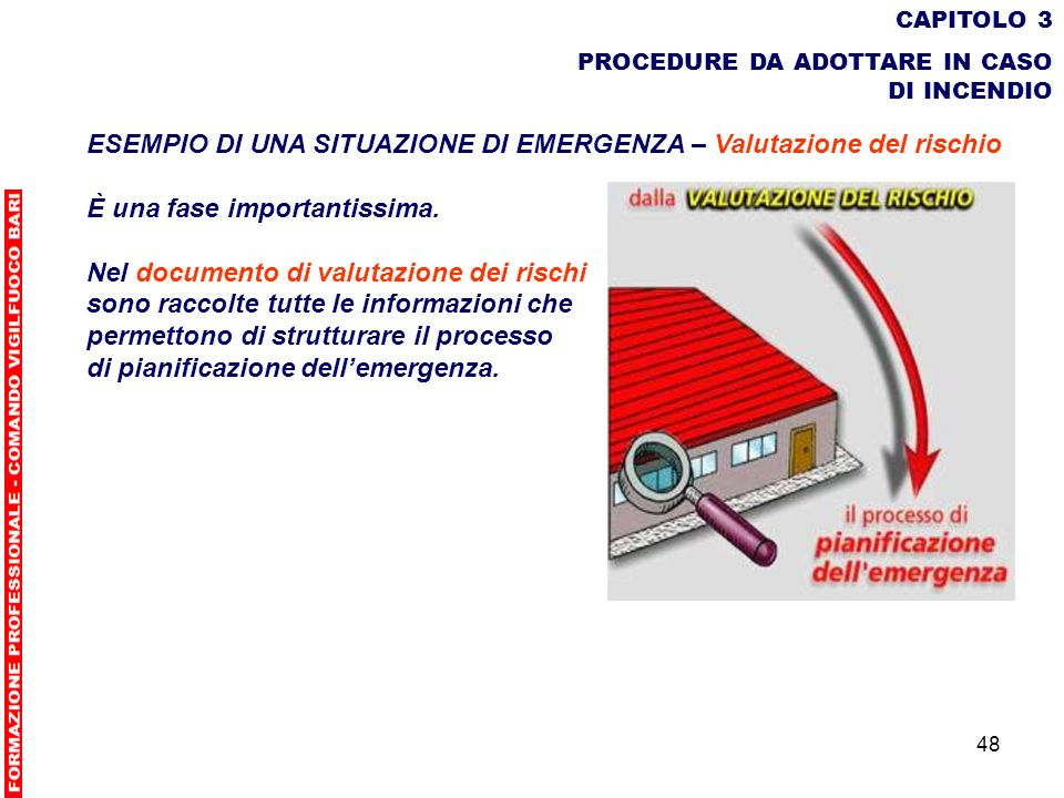 48 CAPITOLO 3 PROCEDURE DA ADOTTARE IN CASO DI INCENDIO ESEMPIO DI UNA SITUAZIONE DI EMERGENZA – Valutazione del rischio È una fase importantissima. N