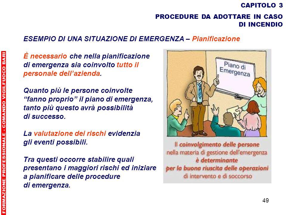 49 CAPITOLO 3 PROCEDURE DA ADOTTARE IN CASO DI INCENDIO ESEMPIO DI UNA SITUAZIONE DI EMERGENZA – Pianificazione È necessario che nella pianificazione