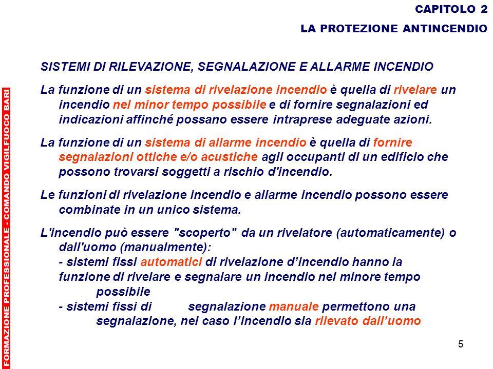 5 CAPITOLO 2 LA PROTEZIONE ANTINCENDIO SISTEMI DI RILEVAZIONE, SEGNALAZIONE E ALLARME INCENDIO La funzione di un sistema di rivelazione incendio è que