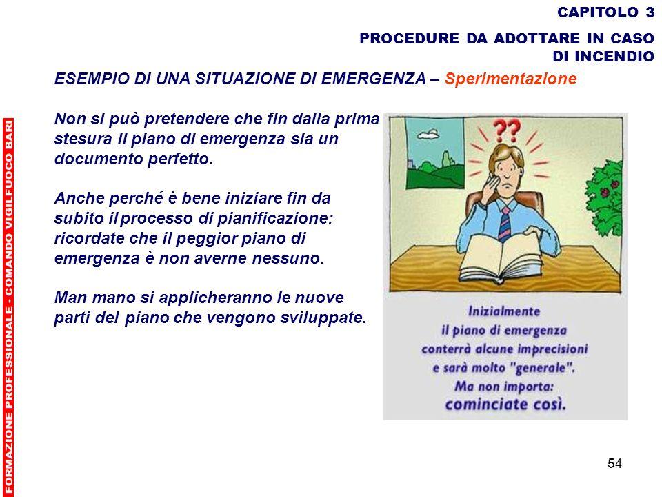 54 CAPITOLO 3 PROCEDURE DA ADOTTARE IN CASO DI INCENDIO ESEMPIO DI UNA SITUAZIONE DI EMERGENZA – Sperimentazione Non si può pretendere che fin dalla p