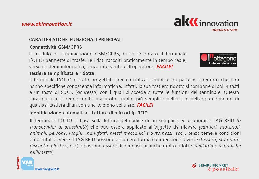 integrazione di sistemi www.vargroup.it PARTNER www.akinnovation.it CARATTERISTICHE FUNZIONALI PRINCIPALI Il modulo di comunicazione GSM/GPRS, di cui