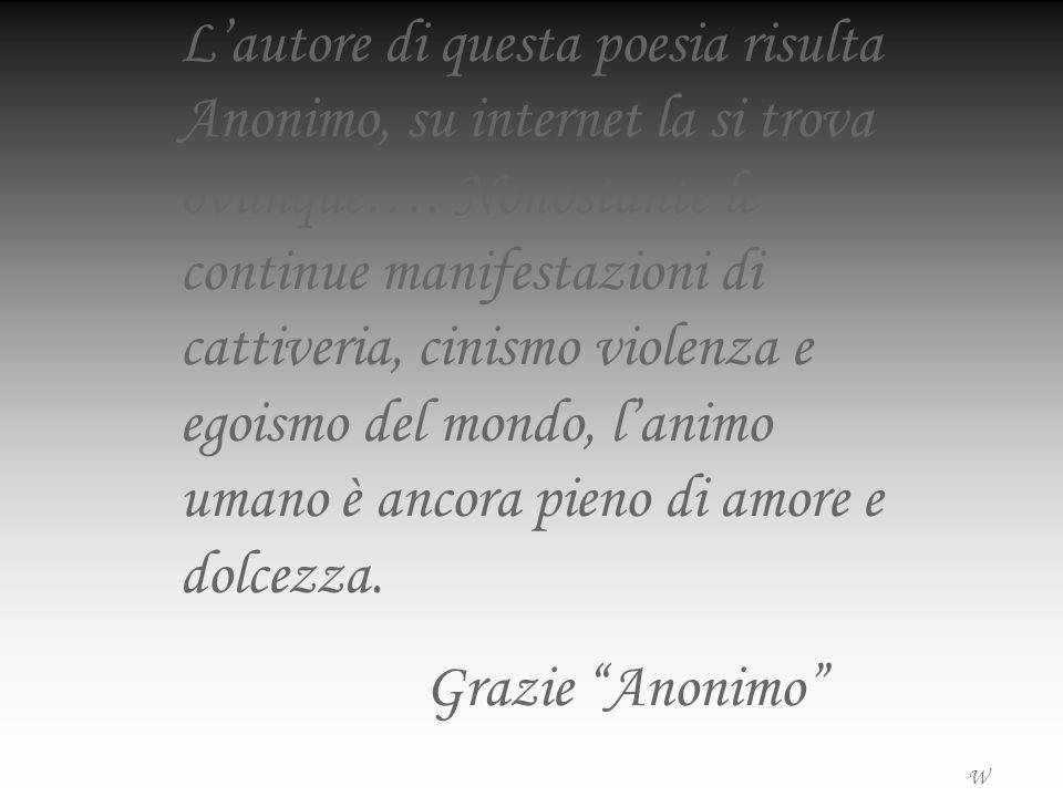 Lautore di questa poesia risulta Anonimo, su internet la si trova ovunque…. Nonostante le continue manifestazioni di cattiveria, cinismo violenza e eg