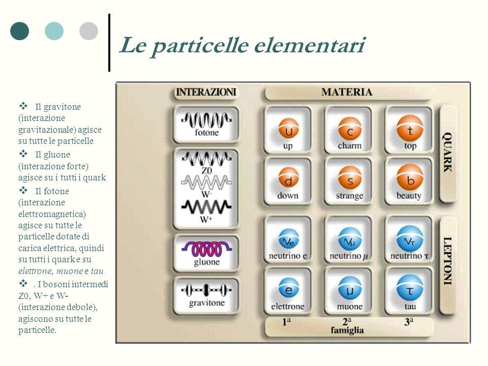 Le particelle elementari Il gravitone (interazione gravitazionale) agisce su tutte le particelle Il gluone (interazione forte) agisce su i tutti i qua
