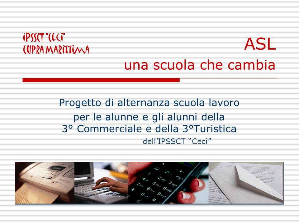 ASL una scuola che cambia Progetto di alternanza scuola lavoro per le alunne e gli alunni della 3° Commerciale e della 3°Turistica dellIPSSCT Ceci IPSSCT Ceci Cupra Marittima