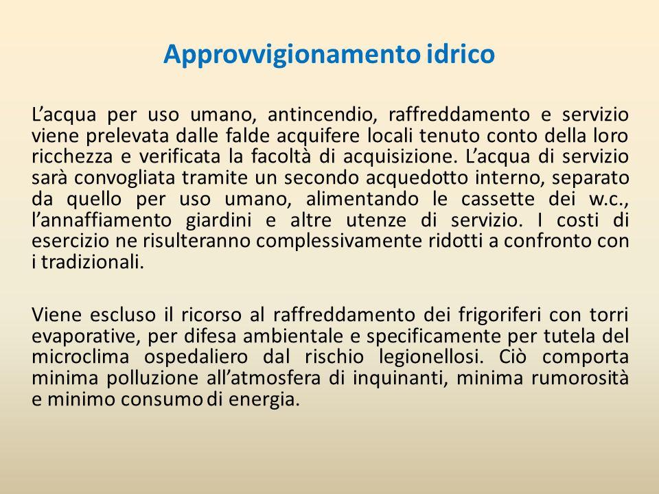 Approvvigionamento idrico Lacqua per uso umano, antincendio, raffreddamento e servizio viene prelevata dalle falde acquifere locali tenuto conto della