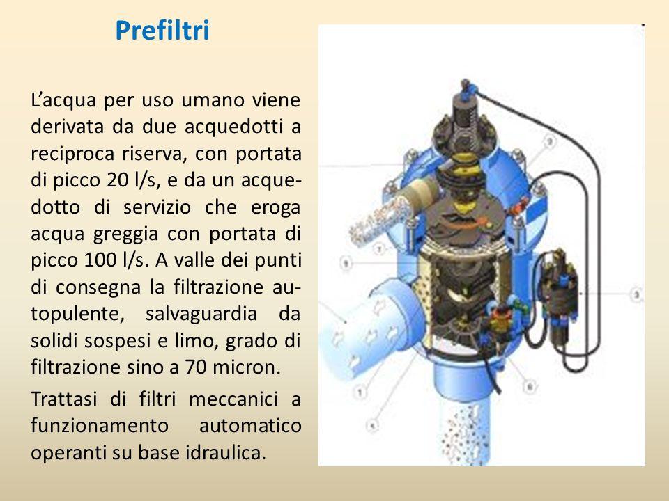 Prefiltri Lacqua per uso umano viene derivata da due acquedotti a reciproca riserva, con portata di picco 20 l/s, e da un acque- dotto di servizio che eroga acqua greggia con portata di picco 100 l/s.