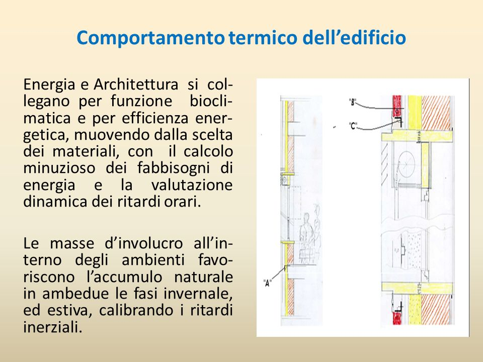 Comportamento termico delledificio Energia e Architettura si col- legano per funzione biocli- matica e per efficienza ener- getica, muovendo dalla scelta dei materiali, con il calcolo minuzioso dei fabbisogni di energia e la valutazione dinamica dei ritardi orari.